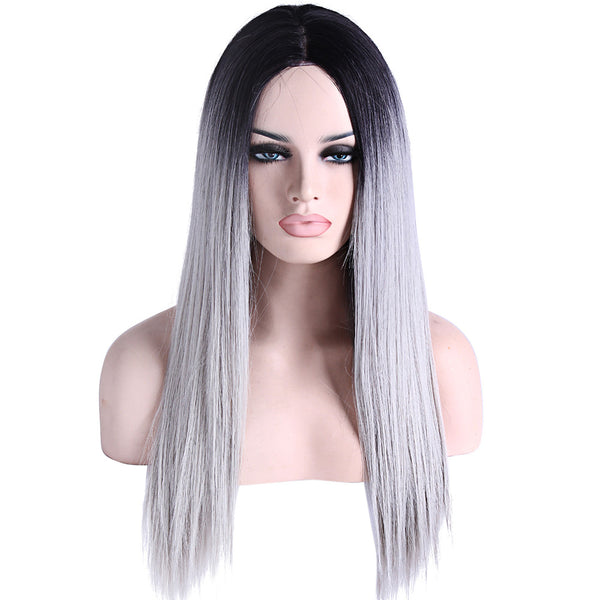 Synthetic Lace Front Wig Straight Synthetic Hair Natural Hairline Gray Wig Women's Lace Front
