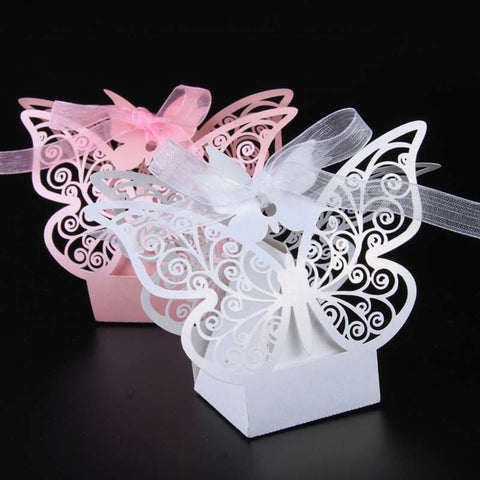 Pearl Paper Favor Holder with Ribbons Favor Boxes - 50