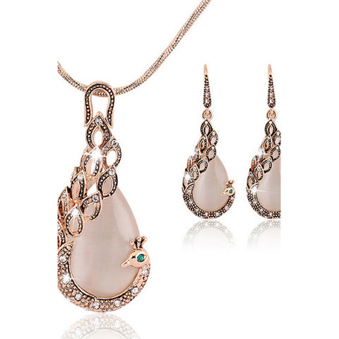 Women's Cubic Zirconia Jewelry Set Stud Earrings Pendant Necklace Pear Cut Peacock Ladies Asian Party Work Fashion Elegant Rose Gold Cubic Zirconia Earrings Jewelry Rose Gold For Wedding Party