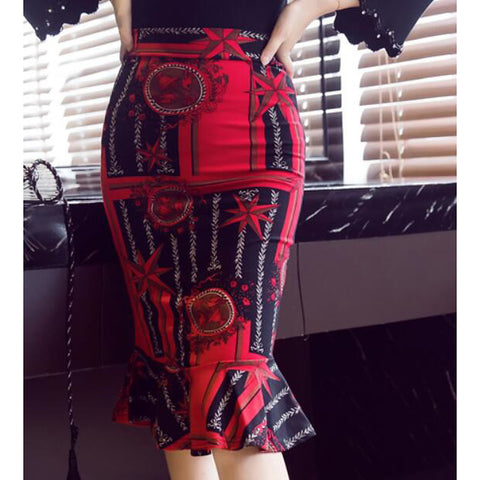 Women's Chic & Modern Skirt & Dress Skirts - Multi Color / Reactive Print Heart / Butterly Style / Modern Style Red S M L