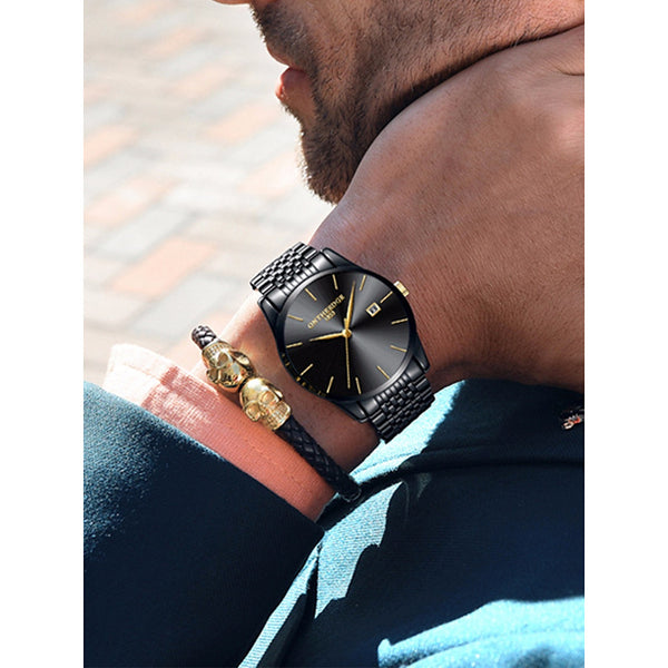 Men's Dress Watch Japanese Oversized Black / Silver / Gold 30 m Water Resistant / Waterproof Chronograph Large Dial Analog Luxury Classic Minimalist Simple watch - Golden Silver / Black Gold / White