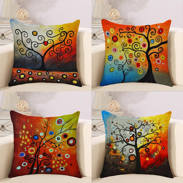 4 pcs Cotton / Linen Pillow Cover, Botanical Artwork Rustic Cartoon Throw Pillow
