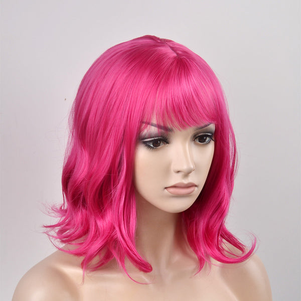 Synthetic Wig Natural Wave Kardashian Style Capless Wig Pink Red Synthetic Hair Women's Pink Wig Short