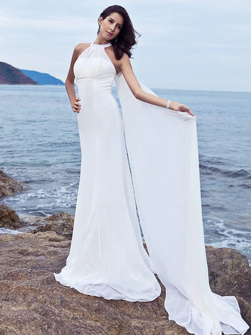 Sheath / Column Halter Neck Sweep / Brush Train Chiffon Made-To-Measure Wedding Dresses with Draping by LAN TING BRIDE®