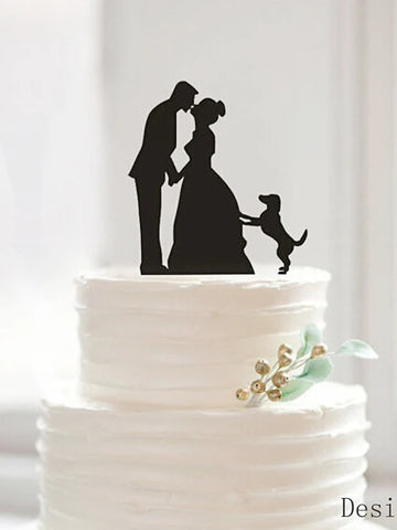Cake Topper Classic Couple Acrylic Wedding Anniversary Bridal Shower with 1 OPP