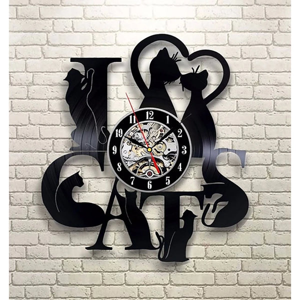 I love cat record wall clock retro LED vinyl clock