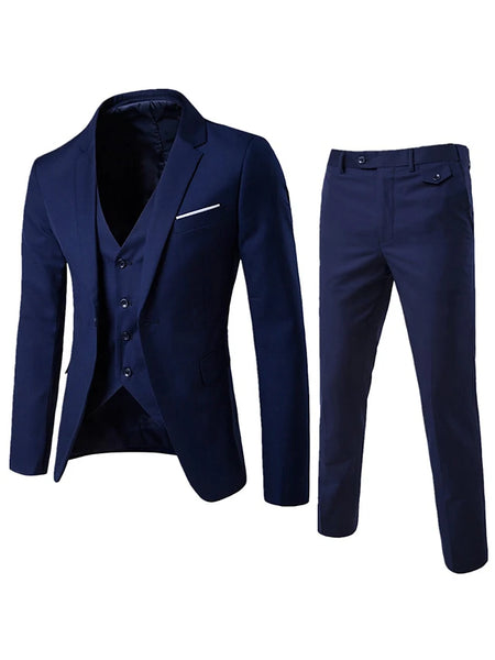 Men's Daily / Going out / Work Street chic Regular Suits, Solid Colored Notch Lapel Cotton / Polyester Wine / Light Blue / Light gray US38 / US40 / US42 / Business Formal / Slim