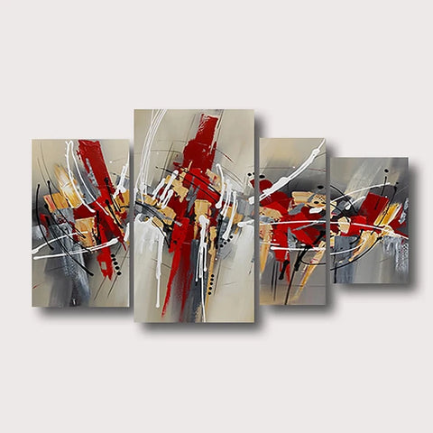 Oil Painting Hand Painted - Abstract Comtemporary Modern Stretched Canvas / Four Panels