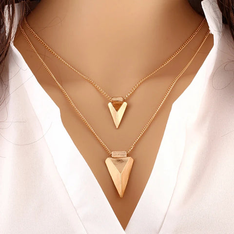 Women's Layered Necklace Double Layered Double Arrow Ladies Personalized Basic European Alloy Gold Necklace Jewelry For Special Occasion Birthday Gift Daily Casual