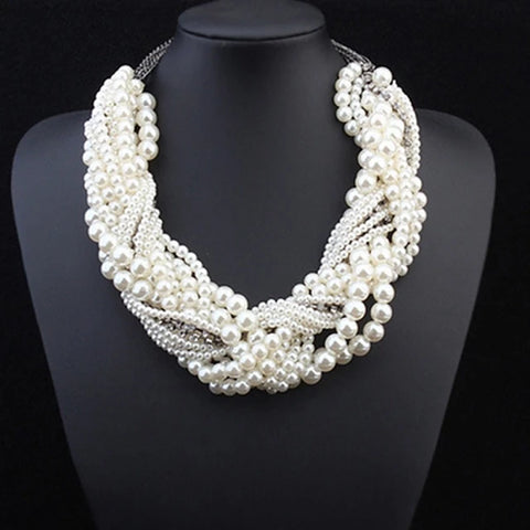 Women's Pearl Statement Necklace Layered Twisted Statement Ladies Luxury Pearl Alloy White Necklace Jewelry For Wedding Party Special Occasion Cosplay Costumes