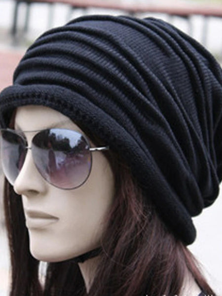 Unisex Work Active Cotton Beanie / Slouchy-Solid Colored Pleated Winter Black Gray Brown / Fabric