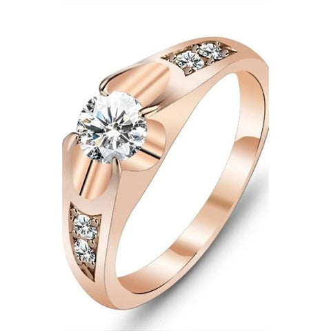 Women's Diamond Statement Ring Solitaire Round Cut Love Ladies Unique Design Rose Gold Cubic Zirconia Gold Plated Ring Jewelry Gold For Wedding Party Gift Daily Masquerade Engagement Party 6 / 7