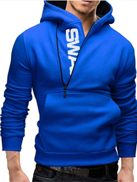 Men's Plus Size Sports Casual / Active Long Sleeve Hoodie - Letter Blue 4XL / Spring / Fall / Winter