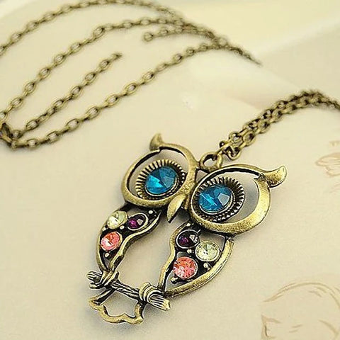 Owl Flower Carved Alloy Blue Rainbow Necklace Jewelry For Party Special Occasion Birthday Gift Causal Daily
