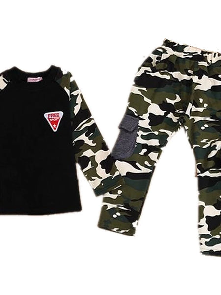 Kids Boys' Camo / Camouflage Long Sleeve Regular Regular Cotton Clothing Set Army Green