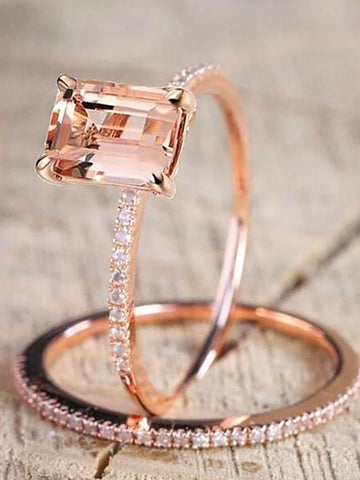 Women's Champagne Cubic Zirconia Citrine Solitaire Emerald Cut Simulated Band Ring Copper Gold Plated Creative Ladies Unique Design Elegant Ring Jewelry Rose Gold For Wedding Daily Masquerade / 2pcs