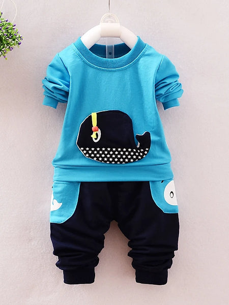 Toddler Boys' Casual Street chic Punk & Gothic Daily Going out Cartoon Long Sleeve Regular Regular Cotton Clothing Set Green