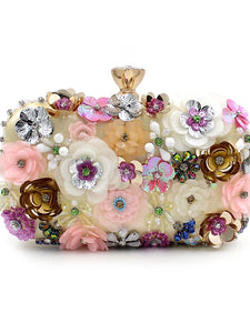 L.WEST® Women's Imitation Pearl / Crystal / Rhinestone / Flower Evening Bag Rhinestone Crystal Evening Bags Polyester Floral Print Rainbow / Wedding Bags / Wedding Bags