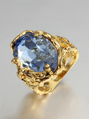 Women's Statement Ring / Engagement Ring Cubic Zirconia 1pc Blue Cubic Zirconia / Gold Plated / 18K Gold Ladies / Luxury Wedding / Party / Gift Costume Jewelry / Solitaire