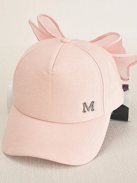 Women's Cotton Baseball Cap Sun Hat-Solid Colored Black Blushing Pink / Cute