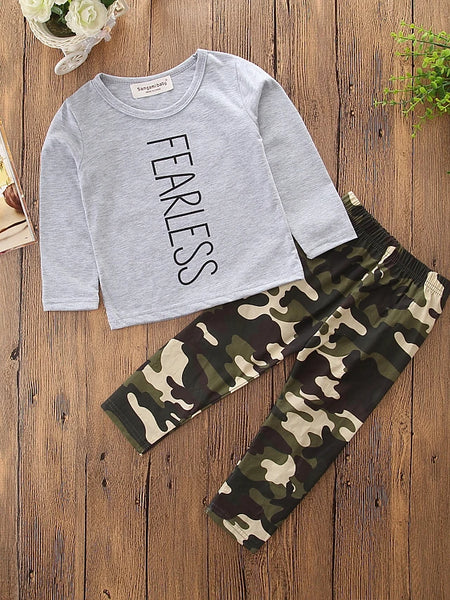 Toddler Boys' Cartoon Dresswear Camo / Camouflage Print Long Sleeve Regular Regular Cotton Clothing Set Gray