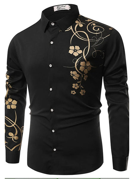 Men's Daily Vintage Slim Shirt - Floral Print Classic Collar White / Long Sleeve / Spring / Fall