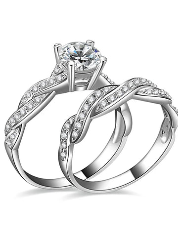 Women's AAA Cubic Zirconia Twisted Round Cut Halo Couple Rings Engagement Ring Silver Plated Love Ladies Ring Jewelry Silver For Wedding Party Engagement Gift Daily Casual 6 / 7 / 8 / 9 / 10 2pcs