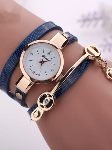 fashion new summer style leather casual bracelet watches wristwatch women dress watches relogios femininos watch - Green Blue Royal Blue One Year Battery Life