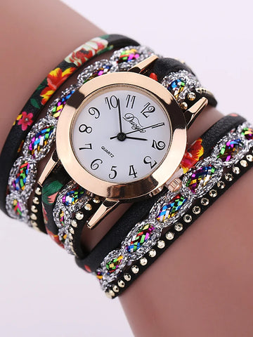 Women's Ladies Bracelet Watch Wrap Bracelet Watch Quartz Leather Black / White / Blue Casual Watch Analog Flower Fashion - Red Green Light Blue One Year Battery Life / Tianqiu 377