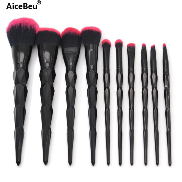 AiceBeu 10Pcs Diamond Makeup Brush Set Handle Makeup Brushes Cosmetics Blusher Powder Blending maquillaje profesional