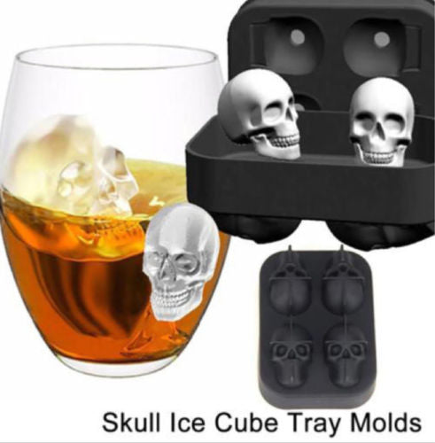 Skull Shape 3D Ice Cube Mold Maker Bar Party Silicone Trays Chocolate Mold Gift Ice Cream Tools