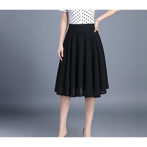 Women's Daily Basic A Line Skirts - Solid Colored Black White Red