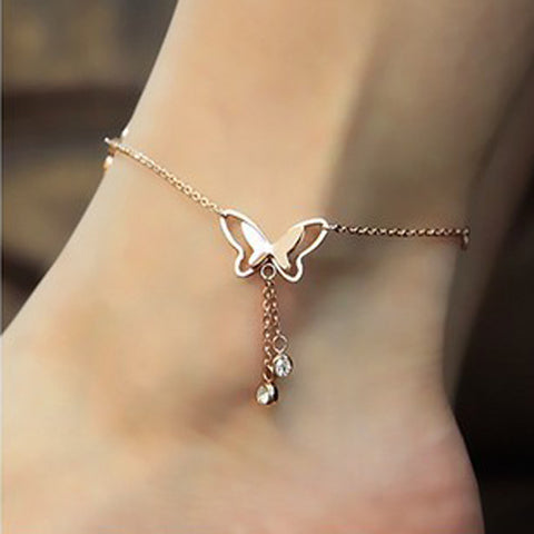 Women's Cubic Zirconia Anklet feet jewelry Butterfly Animal Ladies Luxury Fashion Cute 18K Gold Plated Rose Gold Titanium Steel Anklet Jewelry Golden For Wedding Daily / Imitation Diamond
