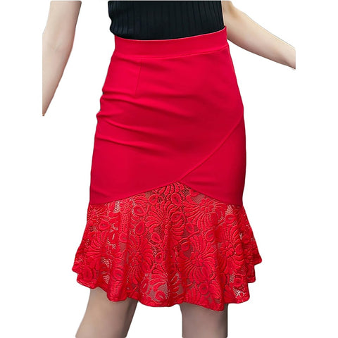 Women's Daily / Work Sophisticated Plus Size A Line / Bodycon Skirts - Solid Colored Lace Ruffle Lace Black Red