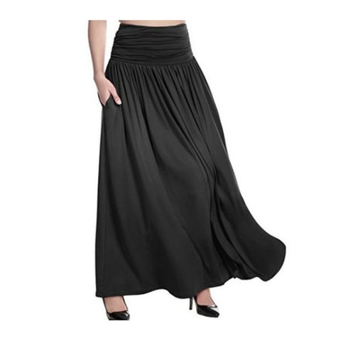 Women's Basic Plus Size Maxi Swing Skirts - Solid Colored Dark Gray Fuchsia Light gray