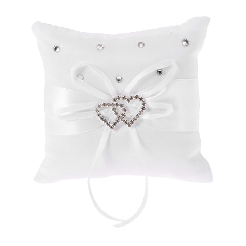 Rhinestone / Ribbons Satin Ring Pillow Classic Theme