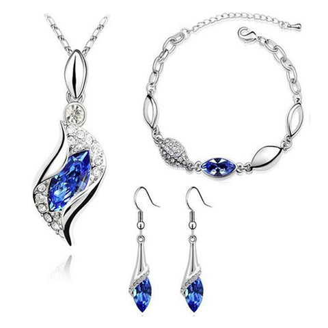 Women's Sapphire Crystal Citrine Jewelry Set Drop Earrings Pendant Necklace Solitaire Marquise Cut Ladies Basic Fashion Elegant Italian everyday Crystal Rhinestone Imitation Diamond Earrings Jewelry