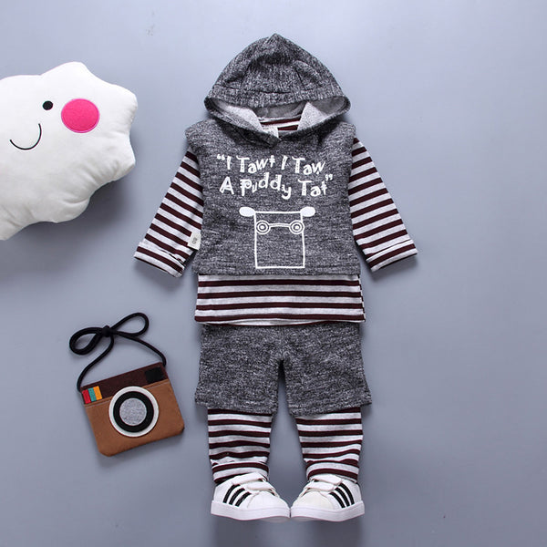Toddler Boys' Casual Basic Party Daily Solid Colored Print Jacquard Classic Pure Color Animal Pattern Long Sleeve Regular Regular Cotton Clothing Set Dark Gray