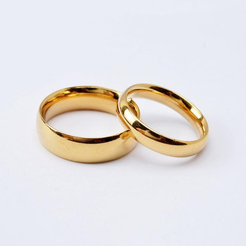 Women's Couple Rings / Band Ring Black / Golden Titanium Steel / Gold Plated Round Ladies / Simple / Simple Style Wedding / Anniversary / Engagement Costume Jewelry