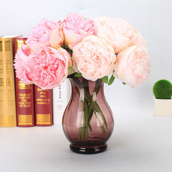 Artificial Flowers 5 Branch European Peonies Tabletop Flower