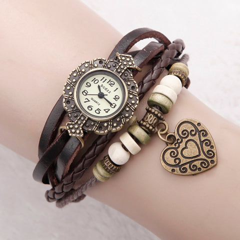 Women's Bracelet Watch Wrap Bracelet Watch Quartz Quilted PU Leather Black / White / Blue Analog Ladies Flower Heart shape Bohemian Fashion - Red Green Blue One Year Battery Life / Jinli 377