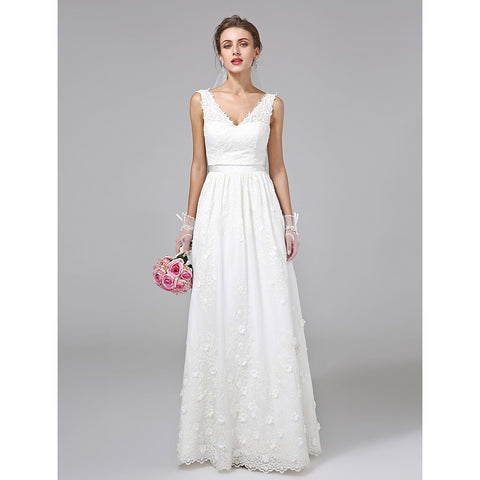 A-Line V Neck Floor Length Lace Made-To-Measure Wedding Dresses with Sash