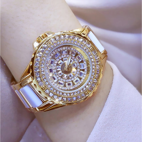 Women's Wrist Watch Diamond Watch Gold Watch Japanese Quartz Stainless Steel Ceramic White / Silver / Gold 30 m Casual Watch Analog Ladies Charm - Gold Silver Rose Gold