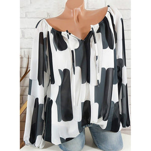 Blouses Women's Basic Plus Size Loose Blouse - Geometric Chiffon