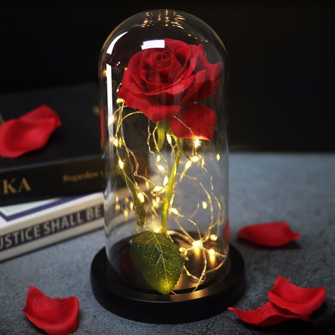 Beauty And Beast Rose In Flask Led Rose Flower Light Black Base Glass Dome Best For Valentines Day Gift
