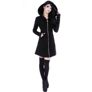 Gothic Slim Mid Length Hoodies Women Long Sleeves Pocket Hooded Neckline Casual Style Zipper Closure Fall Winter Coats