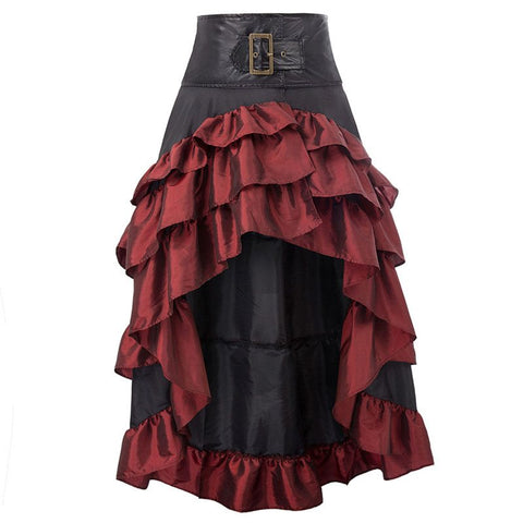 Vintage Elegant Cupcake Skirts Women Goth Winter Patchwork Pleated Ankle Length Black Skirt