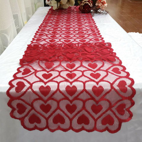 Heart tablecloth table runner dinner banquet home decoration red Valentines Day table runner banquet home decoration