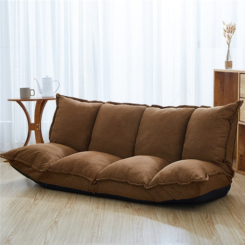 A Linen Fabric Upholstery Adjustable Floor Sofa Bed Lounge Sofa Bed Floor Lazy Man Couch Living Room Furniture Video Gaming Sofa