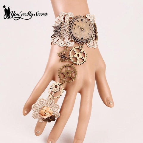 [You're My Secret] Gothic Lace Braclet For Women's Fashion Bohemia Rose Butterfly Bracelet Gear Steampunk Finger Hand Chain